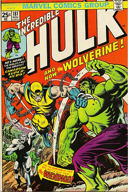 The first full appearance of Wolverine in Hulk 181.